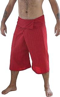 Siam Secrets 100% Cotton Pinstripe 3/4 Capri Thai Fisherman Pants Plus Red