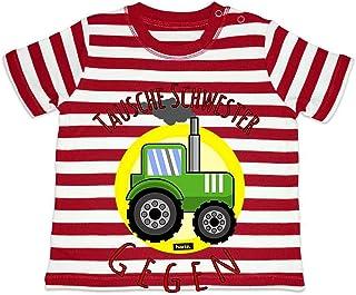 HARIZ HARIZ Baby T-Shirt Streifen Tausche Schwester Gegen Traktor Fahrzeuge Traktor Plus Geschenkkarte Feuerwehr Rot/Washed Weiß 18-24 Monate
