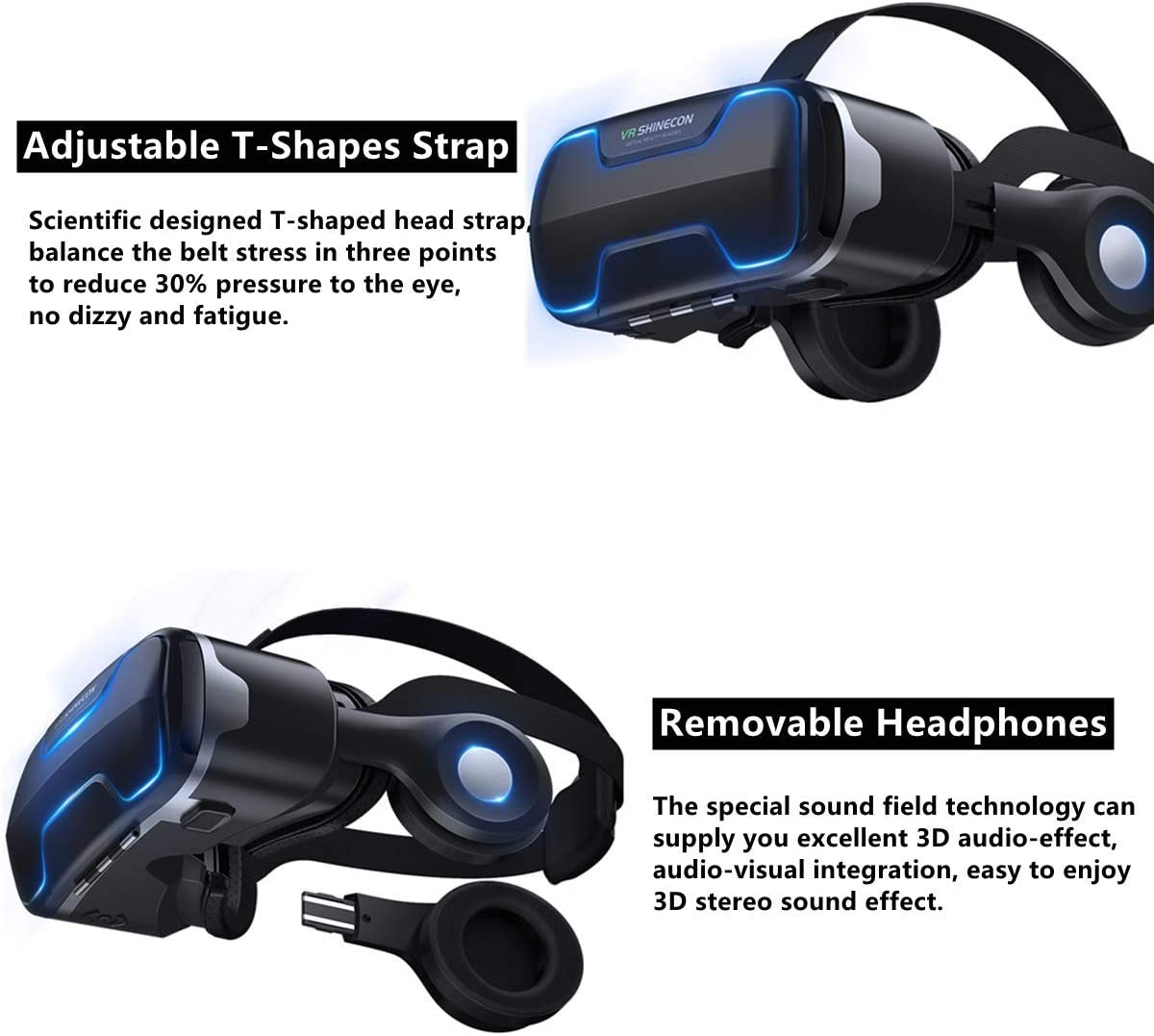 """VR Headset for Phone iPhones with Headphones& Controller, 3D Virtual Reality Glasses /Goggles with Blue Light Viewer for Movies & Video Games, Support 4.7-6.0""""Large Screen Smartphone"""