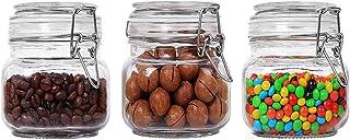 Annfly Lot de 3 bocaux carrés en verre avec joint en caoutchouc et clip en acier inoxydable Transparent 500 ml