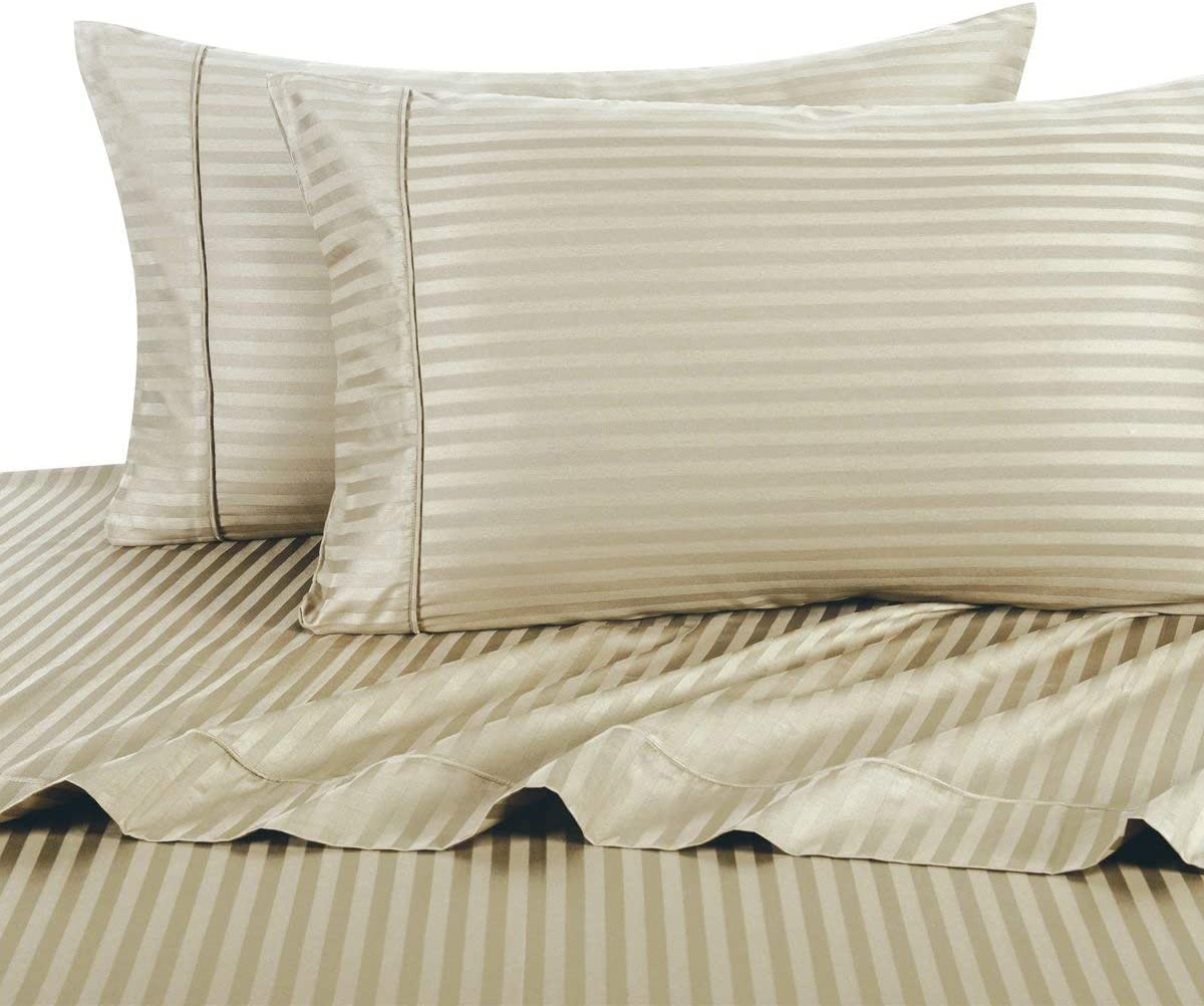 Stripe Tan Queen Size Sheets, 4PC Bed Sheet Set, 100% Cotton, 300 Thread Count, Sateen Striped, Deep Pocket, by Royal Hotel