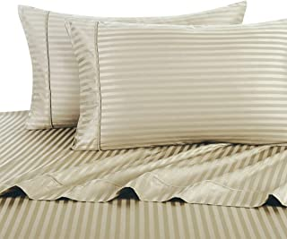 Royal Hotel Stripe Tan Queen Size Sheets, 4PC Bed Sheet Set, 100% Cotton, 300 Thread Count, Sateen Striped, Deep Pocket