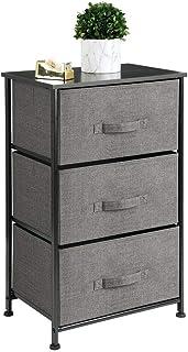 mDesign Vertical Dresser Storage Tower - Sturdy Steel Frame, Wood Top, Easy Pull Fabric Bins - Organizer Unit for Bedroom,...