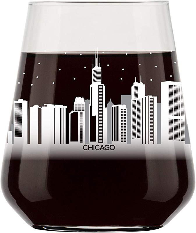 Chicago Skyline Stemless Wine Glass Cool Chi Town Souvenir Or Gift For Traveler Nostalgic Chicago Cityscape Souvenirs Dishwasher Safe Non Toxic Organic Ink Printed In USA