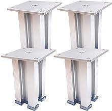 DX 4 x metalen meubelpoten, aluminiumlegering, vierkant, geschikt voor salontafel, lade-middenkast (30 cm, zilver)
