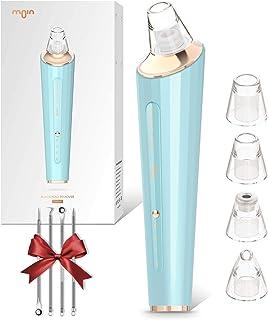 Moin Limpiador de Poros Limpiador Facial Eléctrico Succionador de Puntos Negros Recargable via USB 4 Cabezales para Espin...