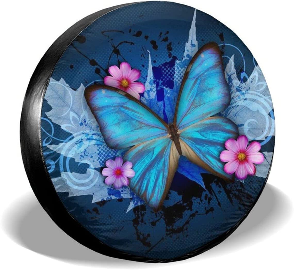 Gocerktr Blue Butterfly Max 85% OFF Spare Tire Universal Sunscreen Wat Max 76% OFF Cover