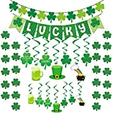 Dazonge 34ct St. Patrick's Day Party Decorations Kit | 14 St. Patrick's Swirls with Cutouts, 1 'LUCKY' Banner, 1 Felt Shamrock Banner, 4 Strings of Shamrocks | St. Patty's Day Party Favors Set