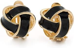 Black Enamel Knot Clip On Earrings In Gold Plating - 17mm L