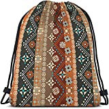 Beabes Colorful Boho Floral Drawstring Bags Backpack Bag Bohemian Style Indian Tribal Art Batik Seamless Pattern Sport Gym Sack Drawstring Bag String Bag Yoga Bag for Men Women Boys Girls