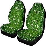 Cubiertas de Asiento de Campo de fútbol de Hierba Verde Natural 2 Piezas, Cubiertas de Asiento de automóvil Asientos Delanteros Solo Ajuste Universal
