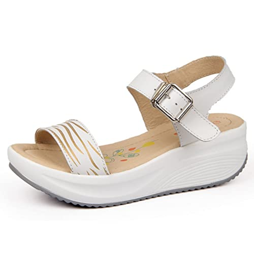 773b3517f89ca7 GFONE Women's Ladies Buckle Thick Bottom Wedges Platform Sandals Walking  Peep-Toe Female Summer Rocker