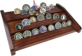 Indeep Challenge Coin Display Military Coin Holder Stand Solid Wood 12 Rows
