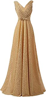 Women's Classic V-Neck Pleated Formal Evening Gowns Long Bridesmaid Dresses for Wedding 2019 EP11