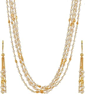 Yellow Chimes Traditional White Pearl Moti Multi-layer Long Chain Necklace Set With Dangle Earrings by Yellow Chimes Gold ...