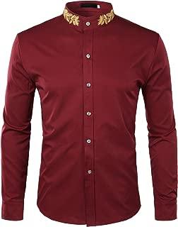 ZEROYAA Mens Hipster Gold Embroidery Mandarin Collar Slim Fit Long Sleeve Casual Dress Shirts