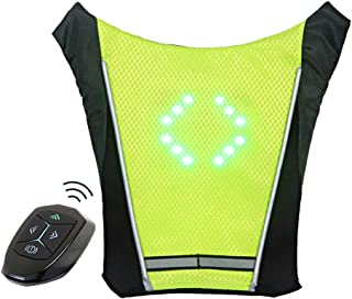 ECEEN LED Turn Signal Vest Bike Pack Guiding Light Reflective Luminous Safety Warning Direction Backpack with Remote Controller for Night Cycling Running Walking Hiking Bag