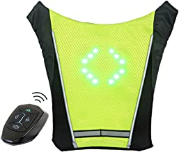 ECEEN LED Turn Signal Vest Bike Pack Guiding Light Reflective Luminous Safety Warning Direction Backpack with Remote Contr...
