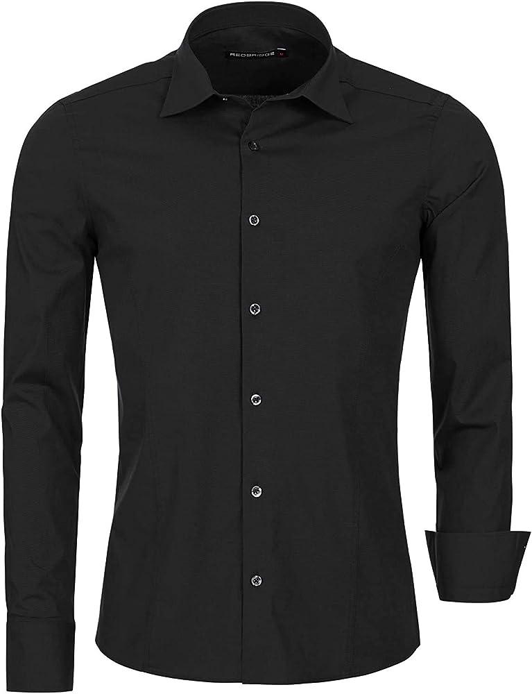 Redbridge, camicia per uomo, 97% cotone, 3% elastan, nera R-2111I
