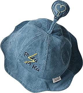 ✿HebeTop✿ Cute Toddler Boys Girls Soft Autumn Winter Warm Fisherman Hat Solid Corduroy Soft Bucket Hat Cap