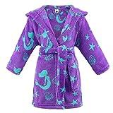 Kids Robe Girls Boys Soft Cartoon Hooded Bathrobe Robe Dressing Gown,Green Mermaid-Purple,M(Ages 4-6)