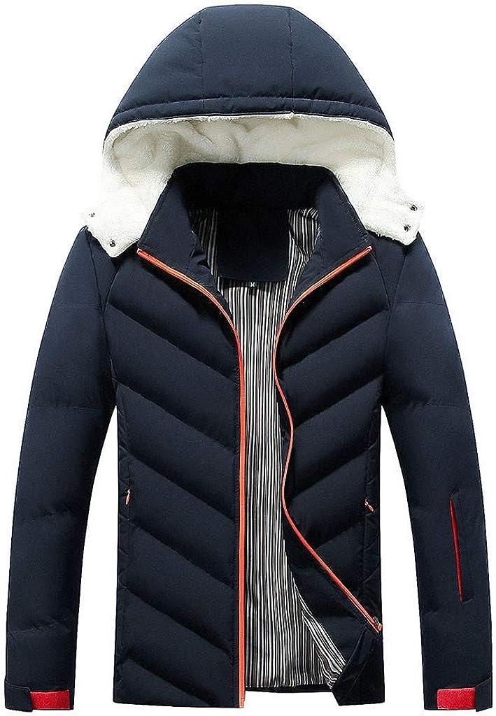 Men's Puffer Down Winter Warm Coat Long Sleeve Zipper Hoodies Jacket Windproof Outwear