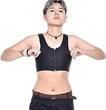 BaronHong Tomboy Trans Lesbian Middle Zipper Mesh Chest Binder Corset Plus Size Short Tank Top