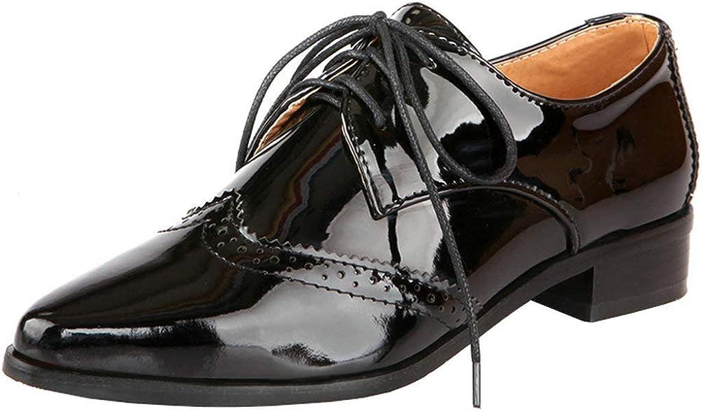 KOKOMOMO Womens Wingtip Patent Leather Pointed Heel OFFer Very popular! F Low Oxford