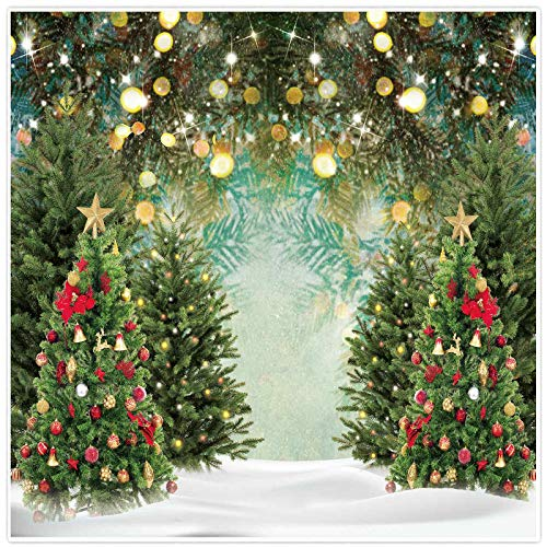Allenjoy 8x8ft Fabric Winter Christmas Tree Photography Backdrop Glitter Pine Tree Bokeh Xmas Wonderland Background for Family Festival Decorations Baby Kids Birthday Party Pictures Photo Studio Props