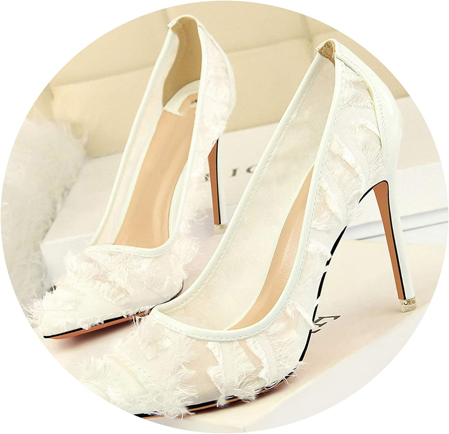 Milk Maniac 2019 Women Lady Pumps Sandals high Heeled shoes Thin Netted Hollowed Fluffy Single shoes