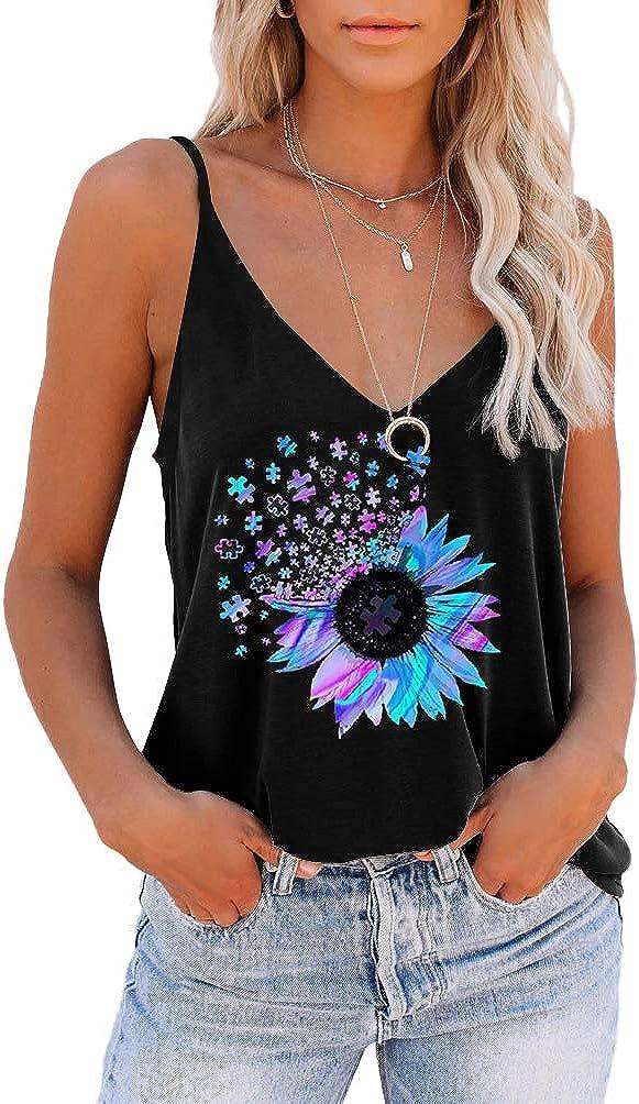 SAUKOLE Women's Adjustable Spaghetti Strap Shirts Blouses V Neck Floral Print Summer Sleeveless Casual Tank Tops