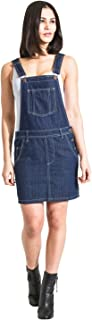 USKEES Short Denim Dungaree Dress - Dark Blue Bib-skirt