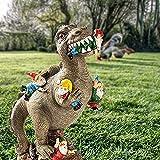Gartenstatuen 24cm Dinosaurier Essen Zwerge Harzskulptur mit Terrassen- und Gartendeko, Ornament für die Wiese