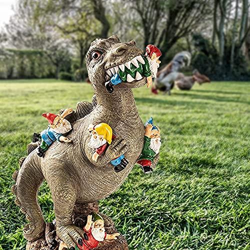 15cm Dinosaurier Essen Zwerge Gartenstatuen, Gartenzwerg Statue, Outdoor Garten Kunst Figur Dekor, Garten Skulptur für Patio, Rasen, Hof Dekoration, Einweihungsparty Geschenk