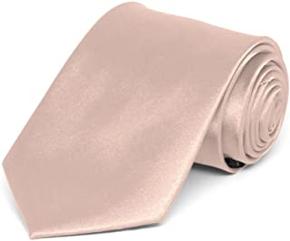 TieMart Boys' Blush Pink Solid Color Necktie