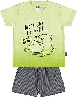 Conjunto Masculina Bebê - Verde Ácido/Listrado Chumbo