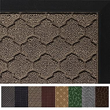 Gorilla Grip Original Durable Rubber Door Mat, Heavy Duty Doormat for Indoor Outdoor, Waterproof, Easy Clean, Low-Profile Mats for Entry, Garage, Patio, High Traffic Areas (29 x 17, Beige: Quatrefoil)