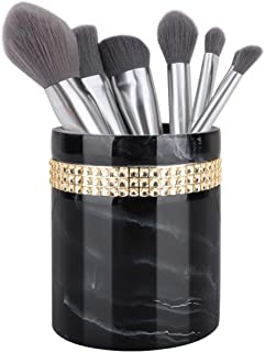 Luxspire Makeup Brush Holder, Resin Round Cosmetics Brushes Organizer Storage Cup with Rhinestone Ribbon For Make Up Powder Puff, Comb and Accessories - Ink Black