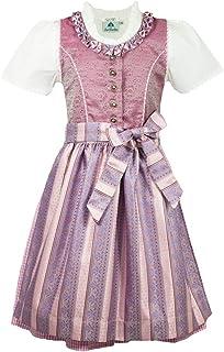 Isar-Trachten Kinder Dirndl Ophelia - Rosa - 3-TLG. Mädchen Kleid mit Schürze und Bluse