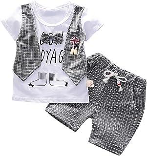 Fossen Ropa Bebe Niño Verano 2020 - Camiseta Manga Corta + Pantalones Cortos a Cuadros - para 0-3 Años Recien Nacido Bebé Conjunto de Dos Piezas