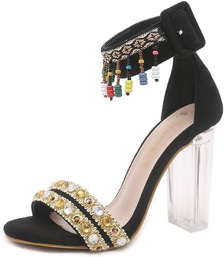 SASA Sandales à Talons Hauts pour Femmes Sauvages été Nouveau Poisson Bouche perlé Strass épais avec des Sandales Transparentes, EU37 UK4.5-5