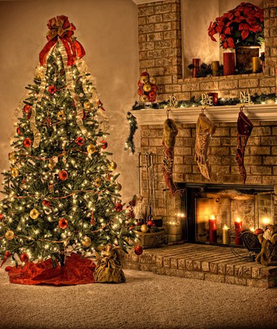 Coloc foto, 150 x 220 cm, Kerstmis, fotografie, achtergrond voor foto, studio, binnen, Kerstmis, boom, open haard XT-060