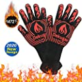 SARCCH BBQ Gloves-Heat Resistant Grill Gloves,1472? Heat Resistant Silicone Insulated Gloves, for BBQ,Cooking,Baking,Fireplace and for Smoker,for Handling Heat Food Right on Your Fryer, Grill or Oven