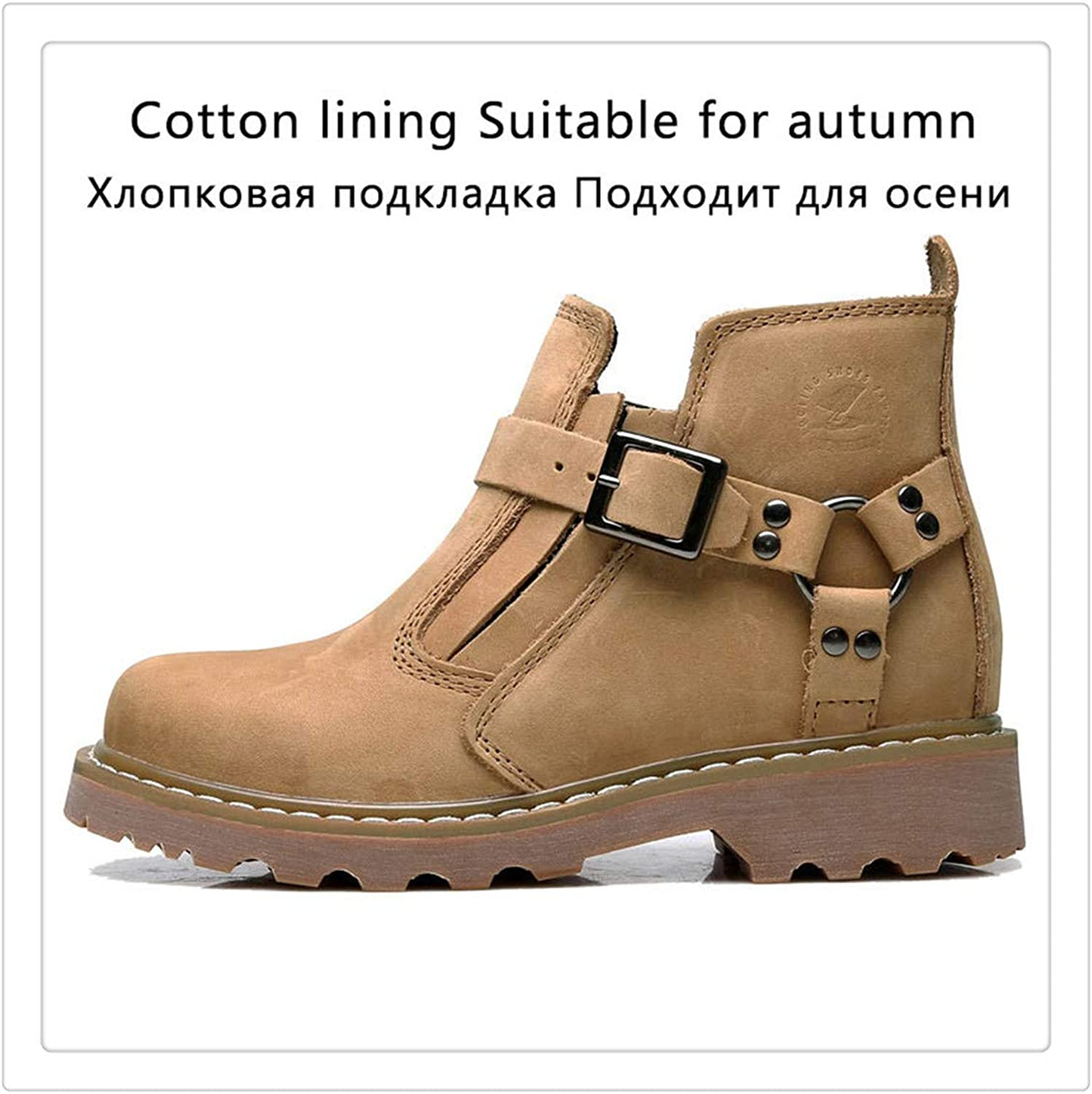 Dmoshibei Genuine Leather Warm Winter Boots Men Breathable Cowboy Boots