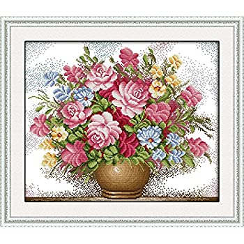 Full Range of Stamped Cross Stitch Kits 11 CT 100/% Cotton DIY Embroidery Starter Kits DIY Needlework for Beginners Kids Adults Winter Angel 18.2 x 26