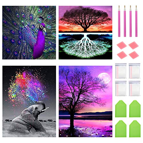 """FineGearPow 4 Pack 5D Diamond Painting Kit for Adults Kids, Full Drill Crystal Embroidery Painting Arts Crafts for Home Wall Decor, Peacock Elephant Trees Night, 11.8"""" x 11.8"""" & 11.8"""" x 15.7"""""""