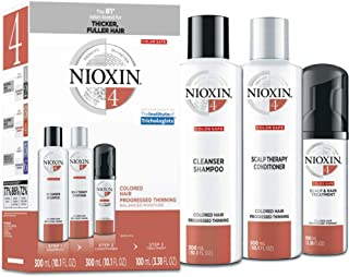 Nioxin System 4 Colored Hair Progressed Thinning Kit for Unisex, 10.1oz Color Safe Cleanser Shampoo, 10.1 oz Color Safe Scalp Therapy Conditioner, 3.38oz Color Safe Scalp and Hair Treatment, 3 count