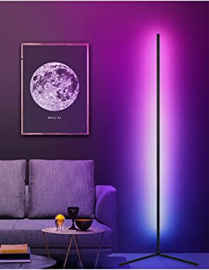 LED RGB Corner Floor Lamp with Remote Control Dimmable Color Changing Standing Lamp Ambient Mood Night Light for Living Room,