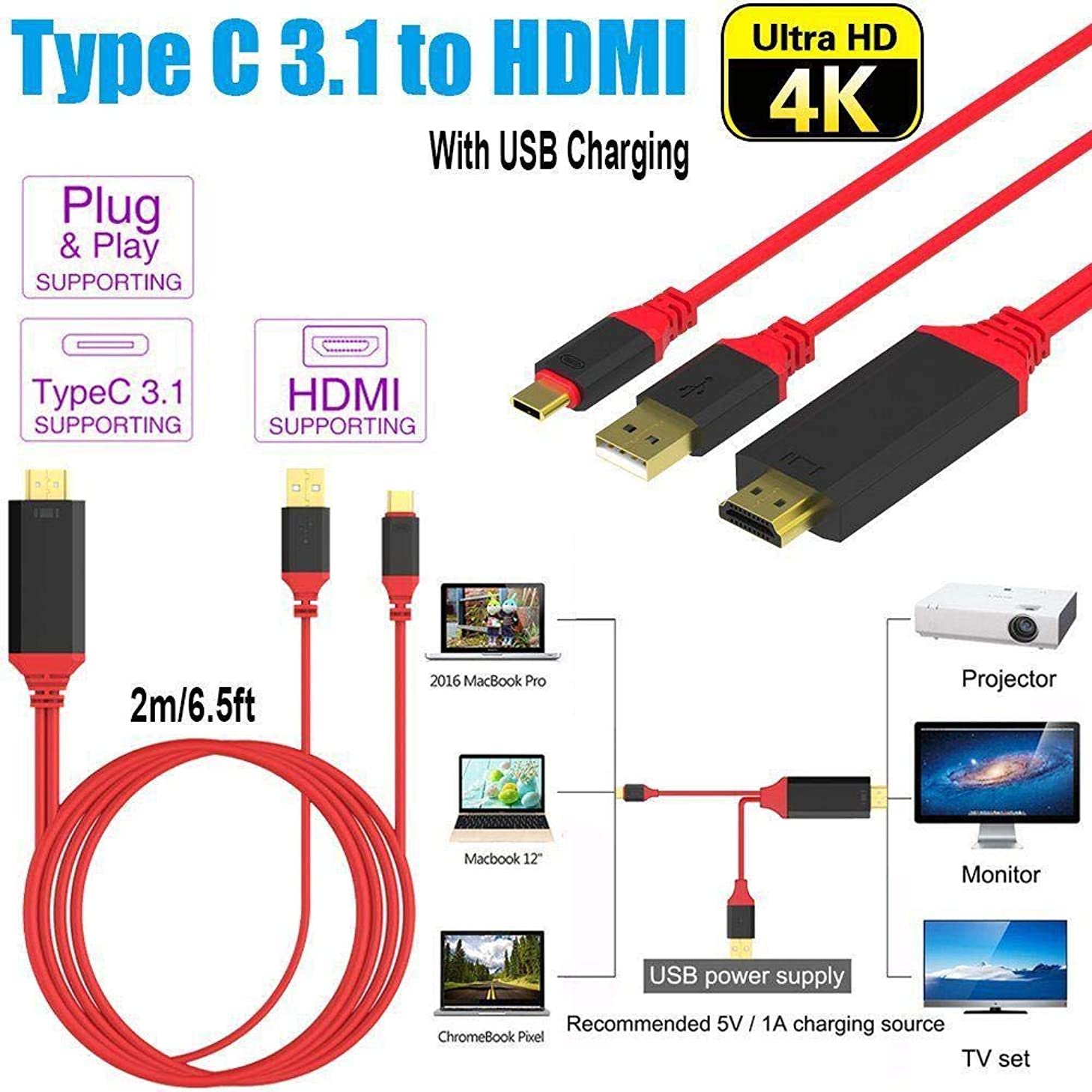 YOOJOP HD HDTV Video Type-C to HDMI W/Charging USB 3.1 Converter Adapter Cable for MacBook/Samsung S8 (Color : Red)