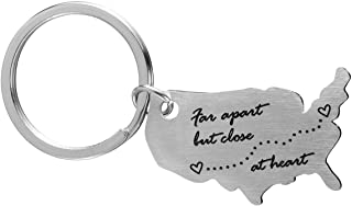 Long Distance USA Map Keychain Gift for Her or Him Moving Away LDR Gifts